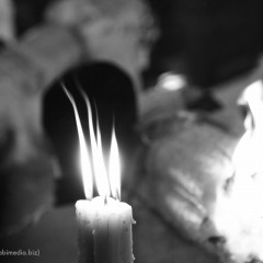 La festa di Sant'Agata a Catania: i devoti e i tradizionali ceri votivi.